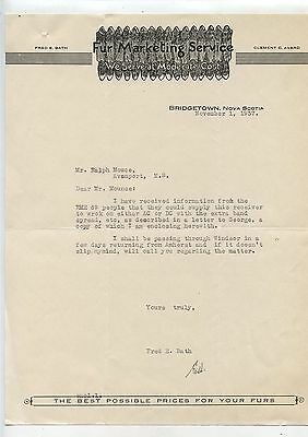 Old 1937 Letterhead Fur Marketing Sevice Bridgetown Nova Scotia