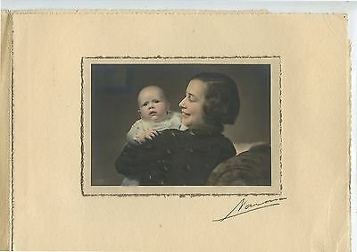 Old Vintage Hand Colored Photo Young Mother and Baby by Navana