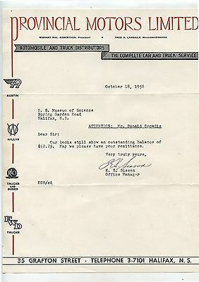 Old 1956 Letterhead Provincial Motors Limited Halifax NS Austin Willys REO