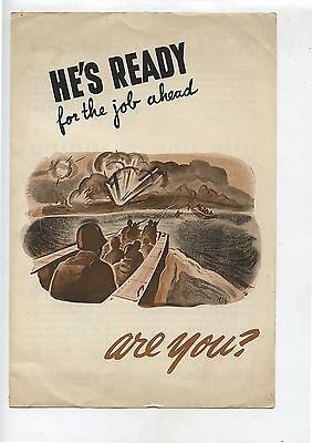 Old Canada WW2 Pamphlet He's Ready for the job ahead Are You? CBC  TV