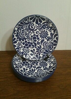 (6) HOME Blue and White Melamine Resin Salad Sandwich Plates