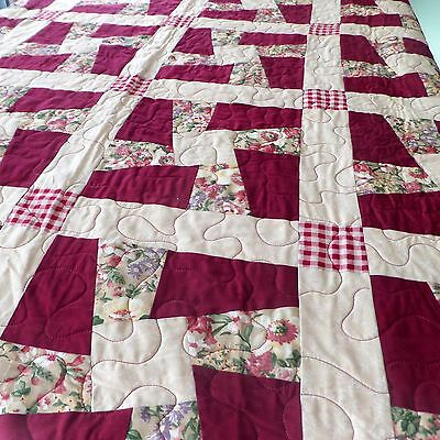 "Handmade Patchwork Quilt 59"" x 95"" Cotton Burgundy Pink Yellow Twisted Sisters"