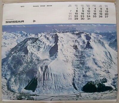 1973 Swiss Air Unused Calendar Emil Schulthess 12 Landscapes to Frame