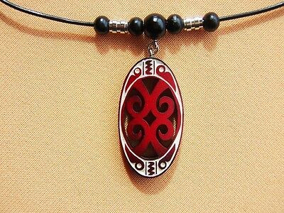 [ Pendant #119 - Red ]   Handmade Carving By Ancient Ainu Tribe Of Hokkaiko