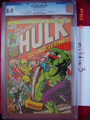 The Incredible Hulk #181 (Nov 1974) CGC 8.0 OW/W PAGES 1st FULL app WOLVERINE