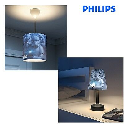 Philips Star Wars Stormtroopers LED Bedside Lamp & 240v Ceiling Light with Shade