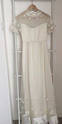 Victorian •Vintage• Ivory Handmade Lace Wedding Embroidered Maxi Dress Size S