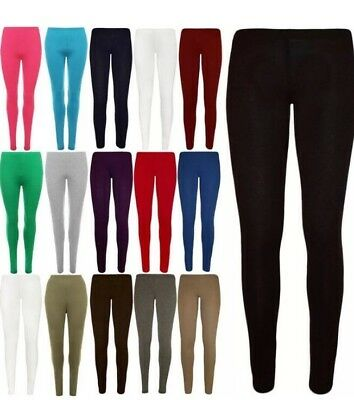 Girls Kids Childrens Soft Viscose Cotton Quality Leggings Black + Colours