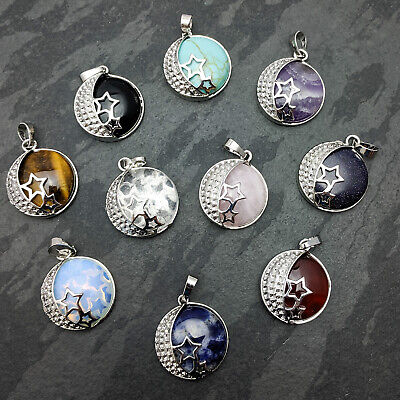 Natural Stone With Silver Plated Moon & Star Pendant On Silver Plated Necklace