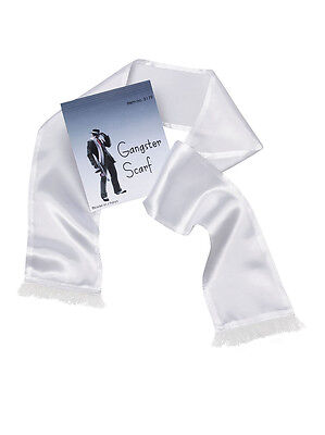 White Budget Gangster Scarf With Tassels Gangster Fancy Dress Costume Accessory