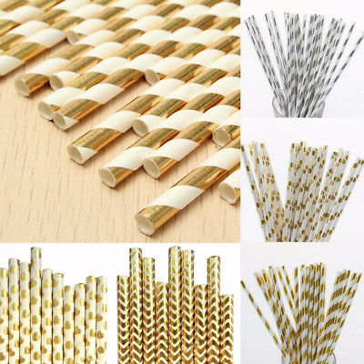25/50/100Pcs Gold Silver Foil Drinking Paper Straws Wedding Birthday Party Decor