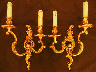 Large Pair Sconces Louis Xv Style -L.gau Paris - Bronze - French Antique - 18.5""