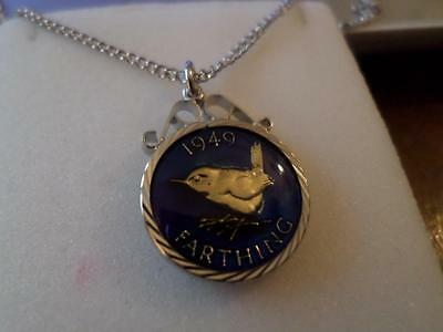 Enamelled 1949 Farthing Coin Pendant & Necklace. Christmas Or Birthday Present