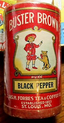 Very Rare Vintage Buster Brown BLACK PEPPER Container Tin - Empty