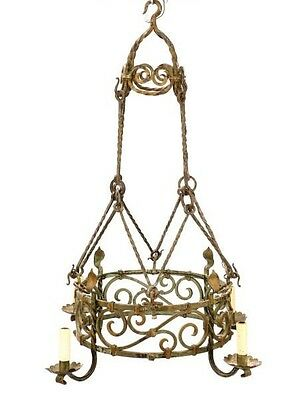 Antique French Provincial Wrought Iron Chandelier | Late-19th/early-20th century