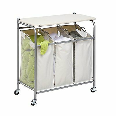 Honey-Can-Do SRT-01196 Rolling Ironing and Sorter Combo Laundry Center