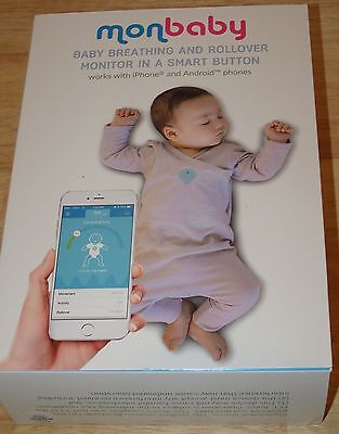 NEW MonBaby Baby Breathing & Rollover Monitor Smart Button Apple Android White