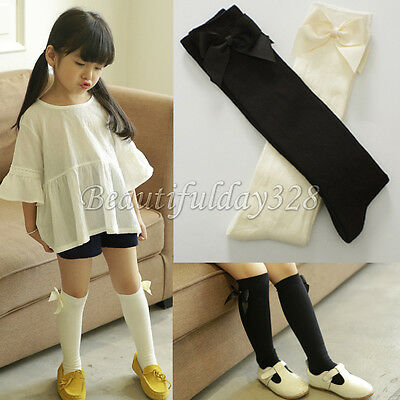 ❤️ Ribbon Bow Lovely Girls Kids Toddlers Knee High Socks (9M-6Y) ❤️