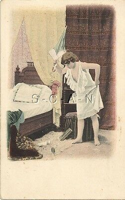 Org Vintage French 1898-1905 Semi Nude PC- Artistic- Nightgown- Spots a Mouse