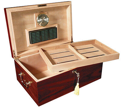 Monte Carlo 120 Count Cherry Cigar Humidor & Tray Hygrometer Large Humidifier