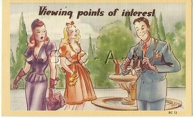 Org 30s-50s Semi Nude Pinup Linen PC- Comic- Endowed- Viewing Points of Interest