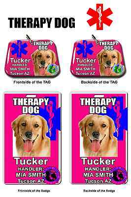 Service Dog ID Tag and Badge ID card THERAPY DOG Pink pet tag customize photo
