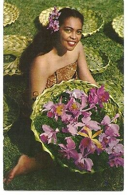 Original 1940s-60s Risque Pinup PC- Hawaii- Island Orchids- Native Woman- Smile