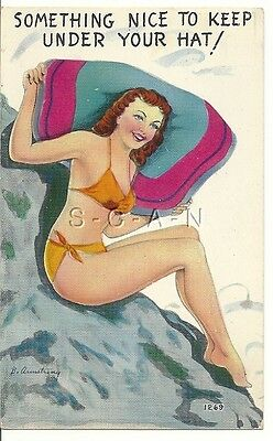 Original 1950s Semi Nude Pinup Chrome PC- Swimsuit- Bikini- Something Nice- Hat
