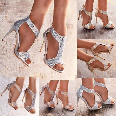 Ladies Diamante High Heel Sandals Shoes T-bar Evening Party Wedding UK size 3-8