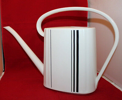 Mid Century Modern Emsa Plastic Watering Can White Black Vintage West Germany