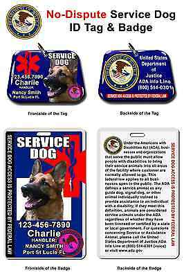Service Dog ID Tag and Badge card combo Photo ID custom made with your dog info