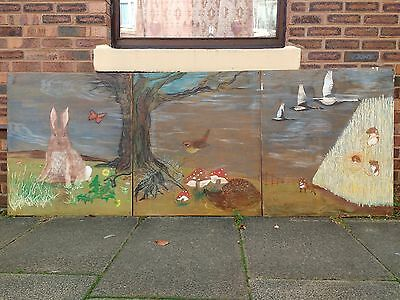 Huge British Wildlife Signed Triptych Oil Painting On Panel. Rabbit, Fox, Mice.