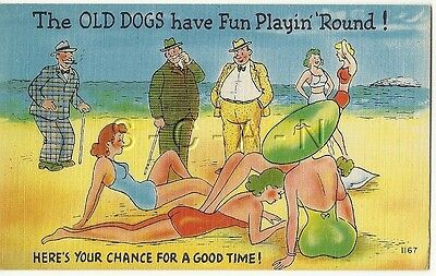 Org 1930s-50s Semi Nude Pinup Linen PC- Comic- Swimsuit- The Old Dogs have Fun