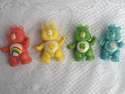 "4 Plastic 3 1/2"" Care Bear Posable/Hair Good Luck/Bedtime/Cheer Bear/Funshine403"