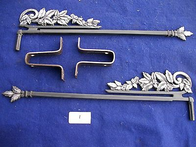Vintage-Old-Antique- Cast Metal/iron Swing A Way Drapery -Curtain Rods- 2 Each