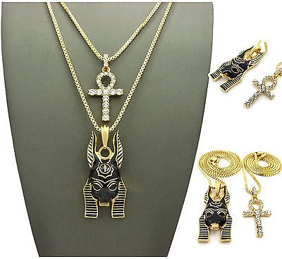 Ancient Egyptian Anubis & Ankh Cross (Key Of Life) Box Chain Necklace Set