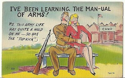 WWII Original 1940s Semi Nude Pinup Linen PC- Comic- Soldier- Manual of Arms