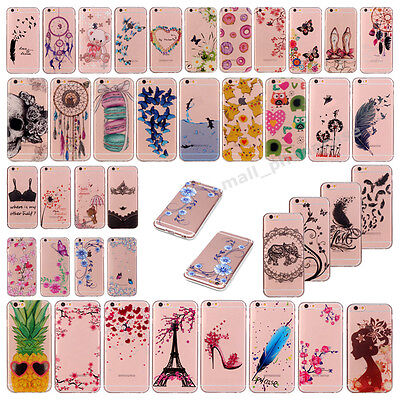 Cute Pattern Clear Crystal Soft TPU Slim Back Case Cover For iPhone 6s 7 7 Plus