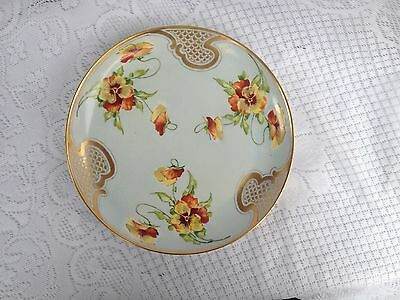 Goa France Handpainted Stouffer Studios Signed 'Have' Pansies & Gold Plate 406