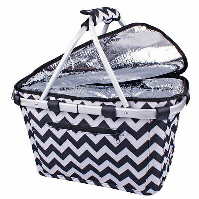 D.LINE Shop & Go Insulated Cooler Carry Basket with Lid Chevron Stripe!