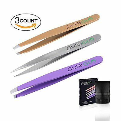 pureGLO Precision Tweezers Set - 3pcs Stainless Steel Best Pointed Slanted Flat