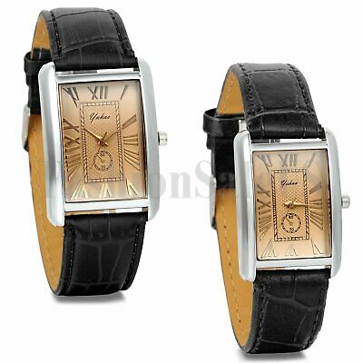 Mens Womens Roman Numerals Square Dial Leather Band Sport Quartz Wrist Watch New