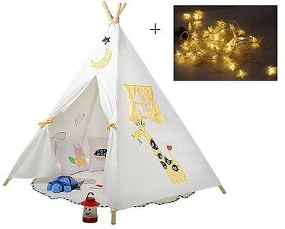 Kids Teepee Tent Play Hut Playhouse Tee Pee Outdoor Indoor Canvas Childrens