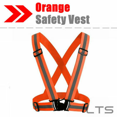 Adjustable Safety Security High Visibility Reflective Vest Night Running Orange