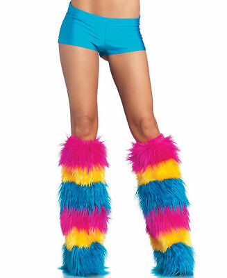 Leg Avenue~ Striped Furry Boot Covers/ Leg Warmers