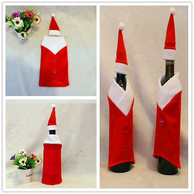 1 Set Red Santa Clothes Red Decor Wine Bottle Glass Cover Christmas Party Table