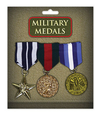Gold Military 3 Medals Army Soldier Armed Forces Fancy Dress Costume Accessory