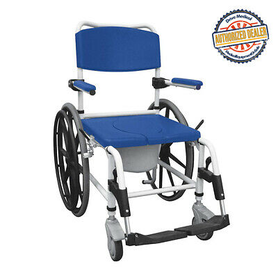 Drive Medical NRS185006 Aluminum Shower Mobile Commode Transport Chair,Blue
