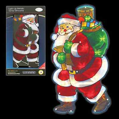 Window Silhouette Santa Green Bag Dual Side Christmas Festive Decorations 70370
