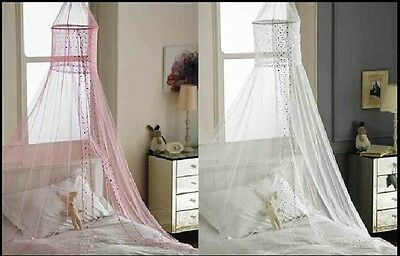 Popsicle Voile Bed Canopies - White & Pink Canopy. Bedroom Accessories